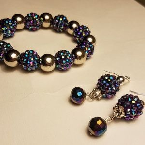 Jewelry - Rainbow purple metallic bracelet and earrings set